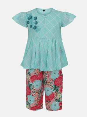 Turquoise Printed and Embroidered Cotton-Linen Pant Top Set