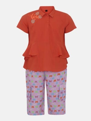 Orange Printed and Embroidered Linen Pant Top Set