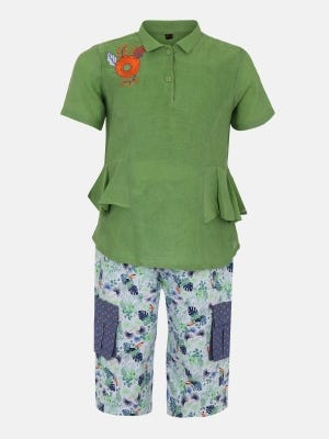 Mint Green Printed and Embroidered Mixed Cotton Pant Top Set