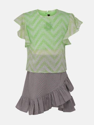 Mint  Green Embroidered Mixed Cotton Skirt Top Set