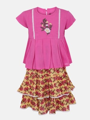 Pink Printed and Embroidered Linen Skirt Top Set