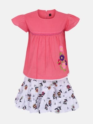 Pink Printed and Embroidered Cotton Skirt Top Set