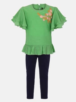 Mint Green Embroidered Mixed Cotton Pant Top Set