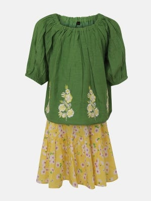 Green Printed and Embroidered Mixed Cotton Skirt Top Set