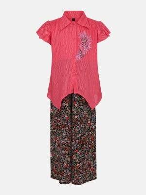 Pink Printed and Embroidered Linen Pant Top Set