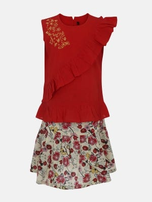 Red Printed and Embroidered Linen Skirt Top