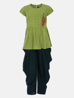 Lime Green Embroidered Linen Pant Top Set