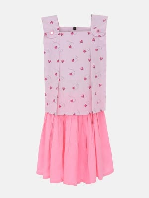 Light Pink Printed and Embroidered Cotton Skirt Top Set