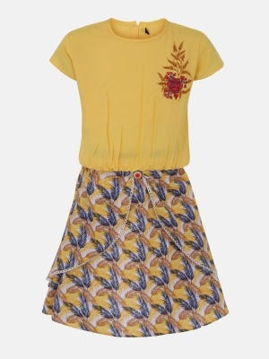 Yellow Printed and Embroidered Linen Skirt Top Set