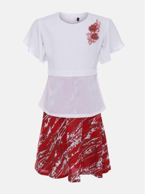 White Printed and Embroidered Linen Skirt Top Set