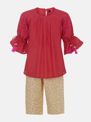 Watermelon Printed and Embroidered Mixed Cotton Pant Top Set