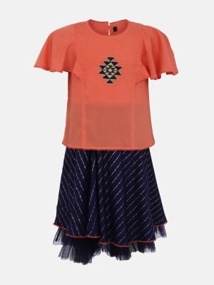 Coral Printed and Embroidered Linen Skirt Top Set