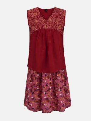 Maroon Printed and Embroidered Linen Skirt Top Set
