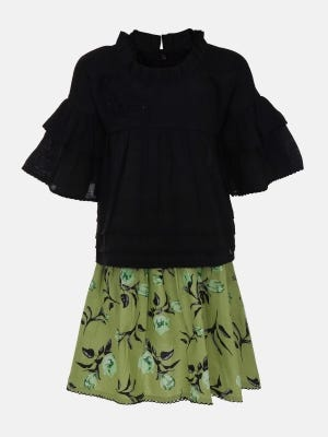 Black Embroidered Mixed Cotton Skirt Top Set