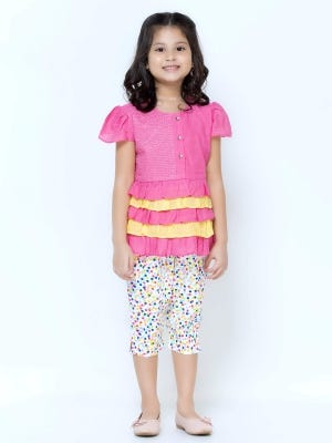 Pink Printed and Embroidered Mixed Cotton Pant Top Set
