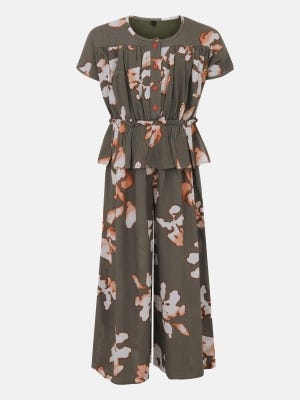Faded Olive Printed Mixed Cotton Jump Suit