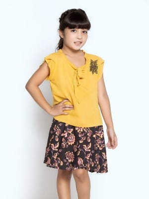 Mustard Printed and Embroidered Mixed Cotton Skirt Top Set