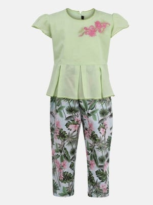 Light Green Printed and Embroidered Cotton Pant Top Set
