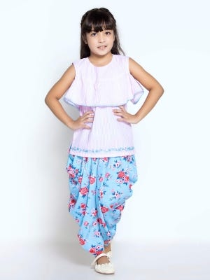 Pink Striped Printed and Embroidered Cotton Pant Top Set