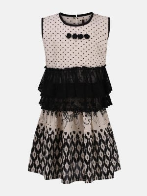 Ivory Printed and Embroidered Cotton Skirt Top Set