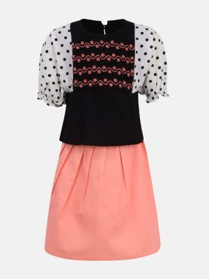 Black Printed and Embroidered Linen Skirt Top Set