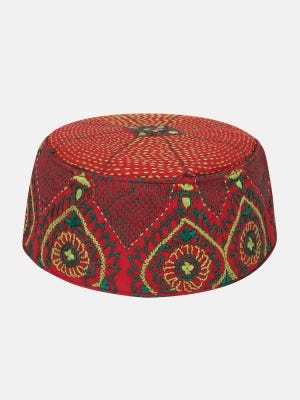 Red Embroidered Cotton Tupi