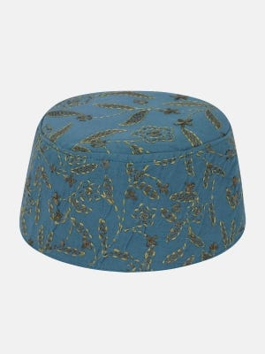 Steel Blue Embroidered Cotton Tupi