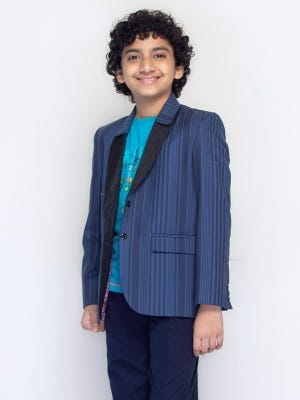 Blue Ramie Cotton Blazer