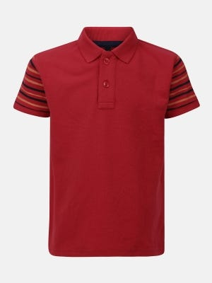 Red Printed Mixed Cotton Polo Shirt