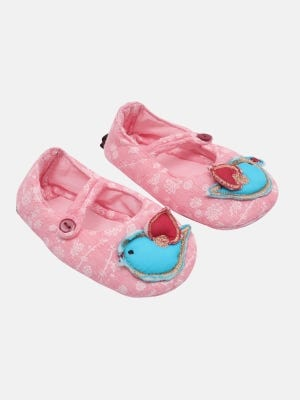 Light Pink Embroidered Cotton Shoes