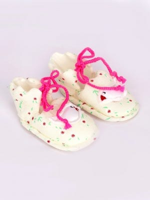 Ivory Printed Cotton Shoes