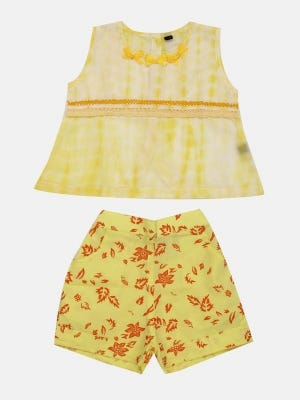 Yellow Tie-Dyed Voile Pant Top Set