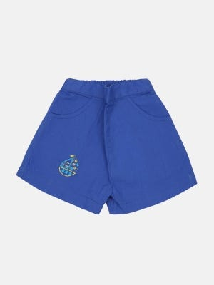 Blue Embroidered Cotton Pant
