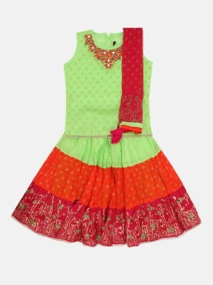 Lime Green printed and Embroidered Voile Ghagra Choli Set