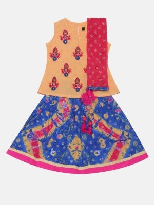 Beige Printed and Embroidered Linen Ghagra Choli Set