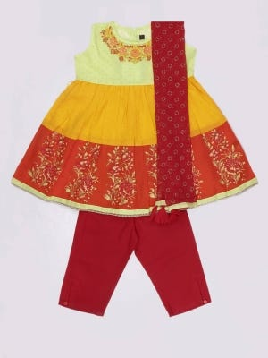 Yellow Printed and Embroidered Voile Shalwar Kameez Set