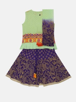Pastel Green Printed and Embroidered Linen Ghagra Choli Set