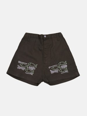 Brown Embroidered Cotton Pant