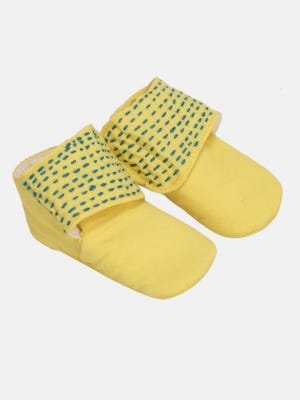 Yellow Embroidered Cotton Shoes