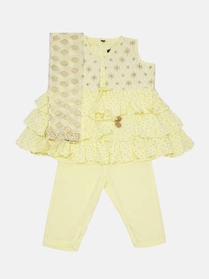 Light Yellow Printed and Embroidered Linen Shalwar Kameez Set with Coaty