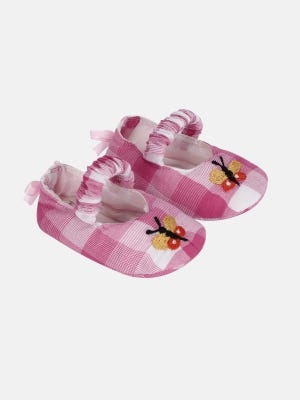 Pink Check Embroidered Cotton Shoe