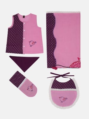 Pink Printed and Embroidered Voile Newborn Set