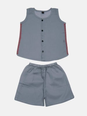 Grey Embroidered Voile Boys Nima with Bottom