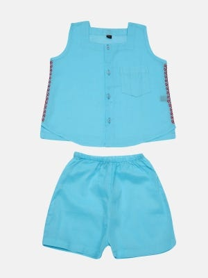 Sky Blue Embroidered Voile Boys Nima with Bottom