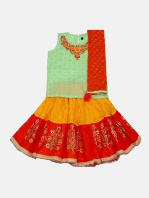 Light Green Printed and Embroidered Voile Ghagra Choli Set