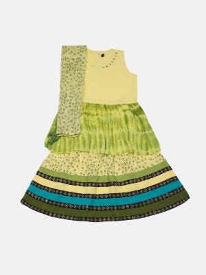 Yellow Tie-Dyed and Embroidered Linen Ghagra Choli Set