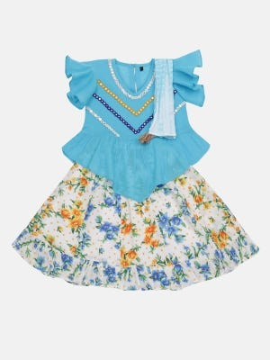 Sky Blue Tie-Dyed and Printed Cotton Ghagra Choli Set