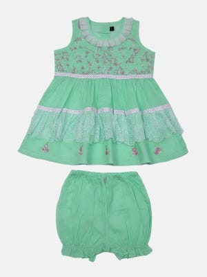 Mint Green Embroidered Voile Frock