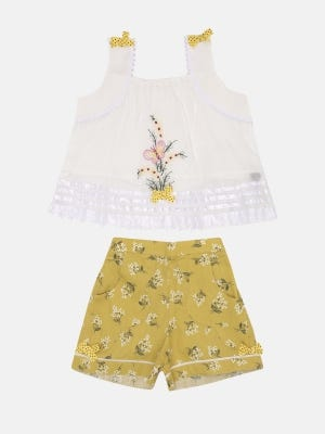 White Embroidered and Printed Cotton Pant Top Set