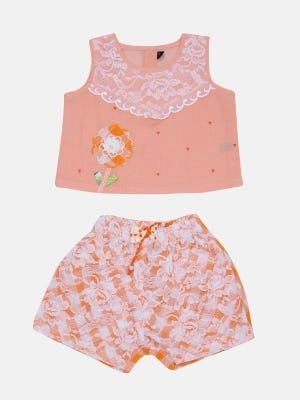 Peach Printed and Embroidered Voile Pant Top Set